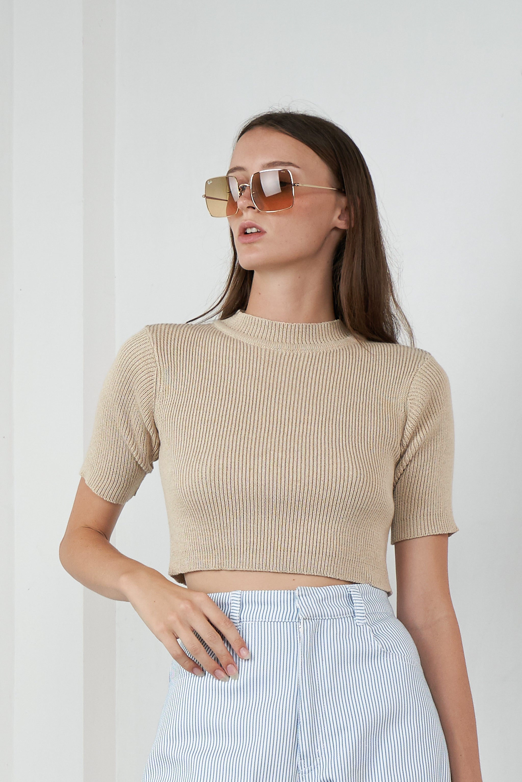 Highrise Knit Top in Sand