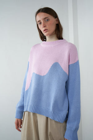 Oversized Pullover in Spliced Pink / Periwinkle