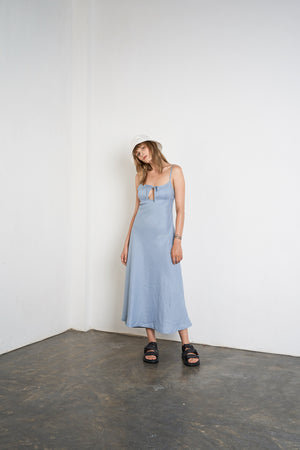 Arthur Apparel Womens Summer Linen Midi Dress Blue Sky