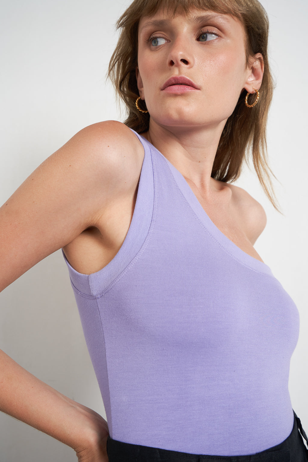 Arthur Apparel Womens Summer Tank Top Violet Purple One Shoulder Asymmetric