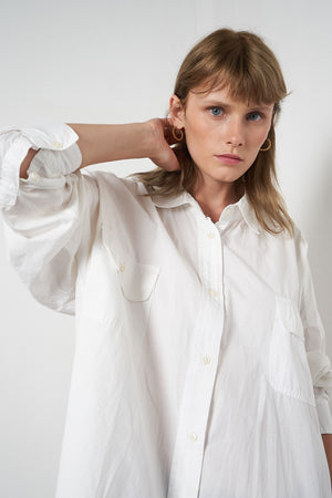 Arthur Apparel Women's Summer Boyfriend Oversized Shirt Cotton White
