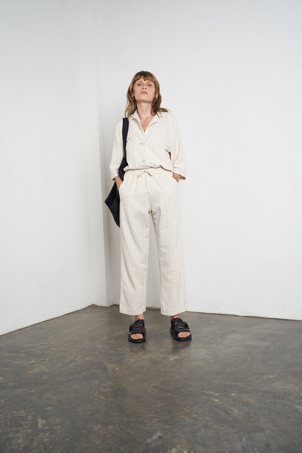 Linen Lounge Pant in Oatmeal Stripe