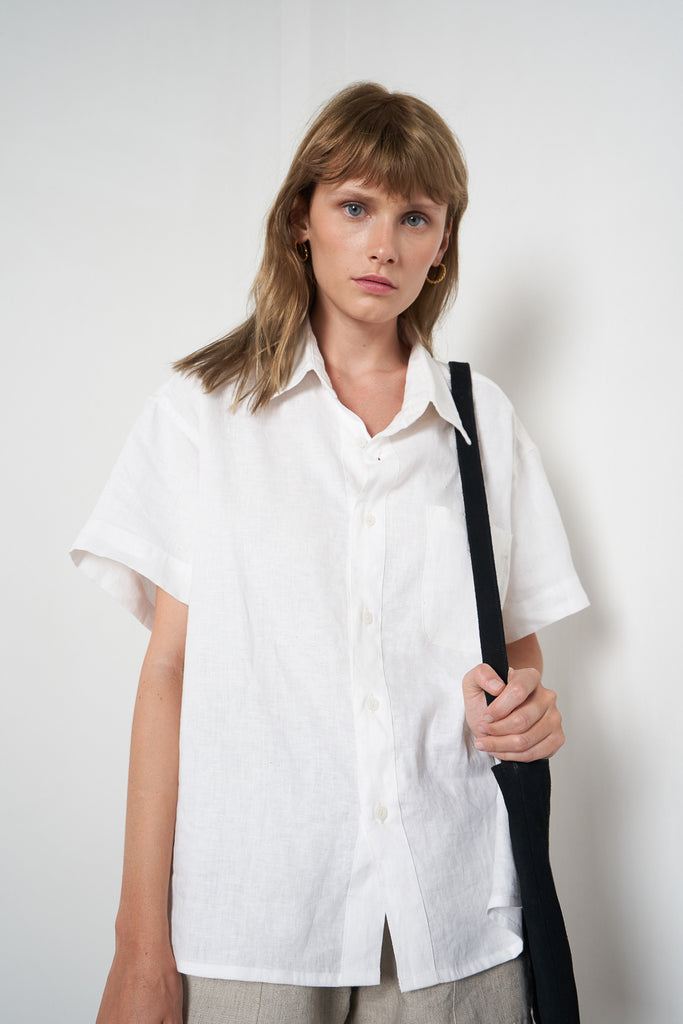 Arthur Apparel Women's Summer Shirt Blouse Linen White