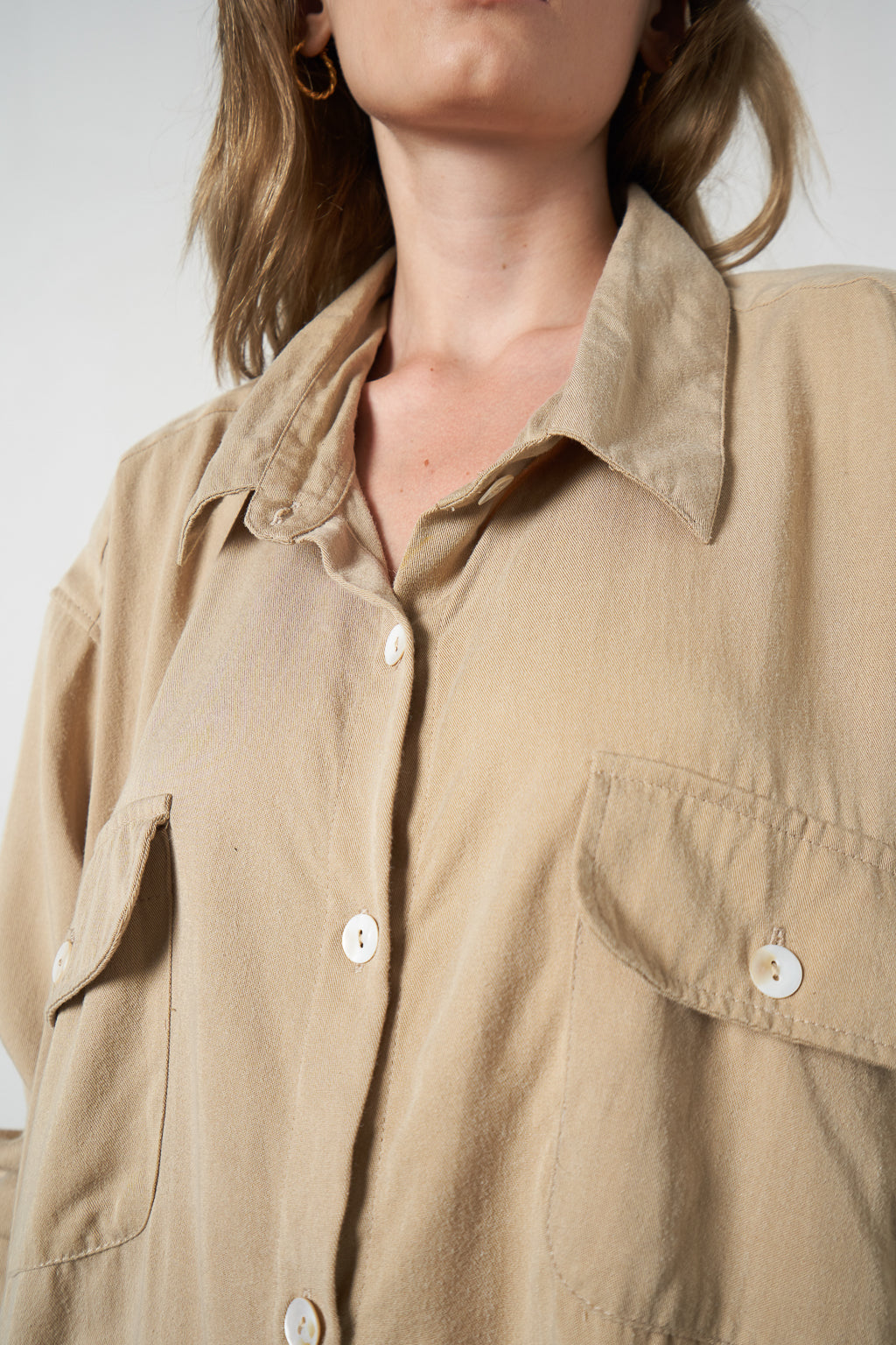 Arthur Apparel Women's Summer Long Sleeved Shirt Tencel Natural