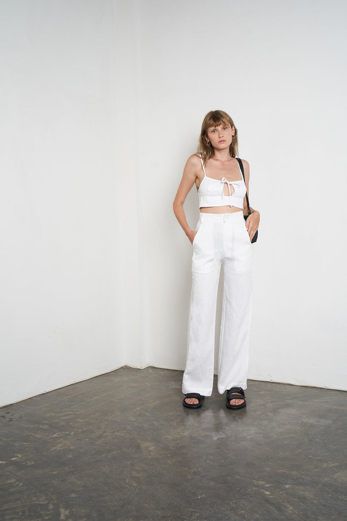Arthur Apparel Women's Summer Trousers Pants White Linen