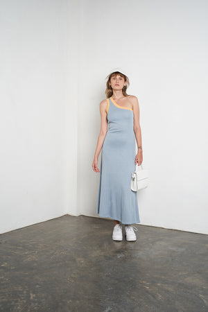 Arthur Apparel Women's Summer One Shoulder Midi Dress Sky Blue