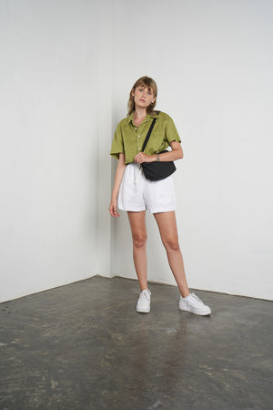 Linen Boy Short in Bright White