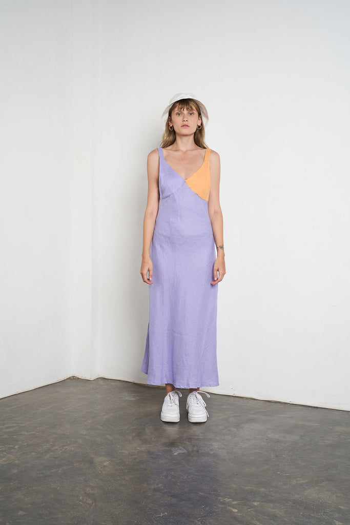 Arthur Apparel Womens Summer Linen Midi Dress Dropped Bust Purple Lilac Orange