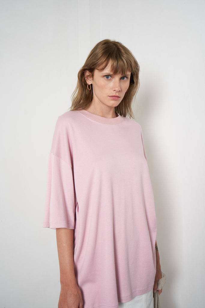 Arthur Apparel Women's Summer Oversized Boyfriend Top Tshirt Pink