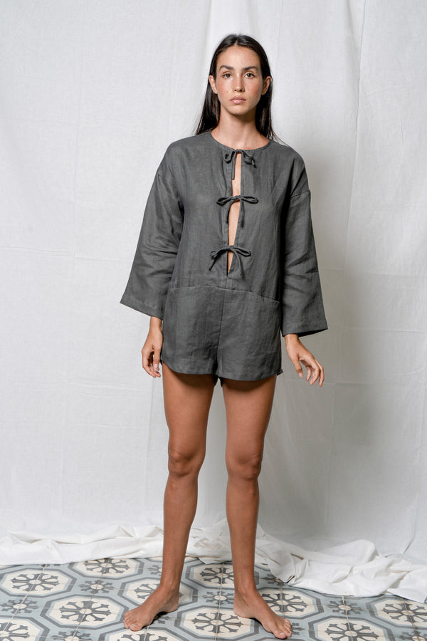 Arthur Apparel tethered romper in slate