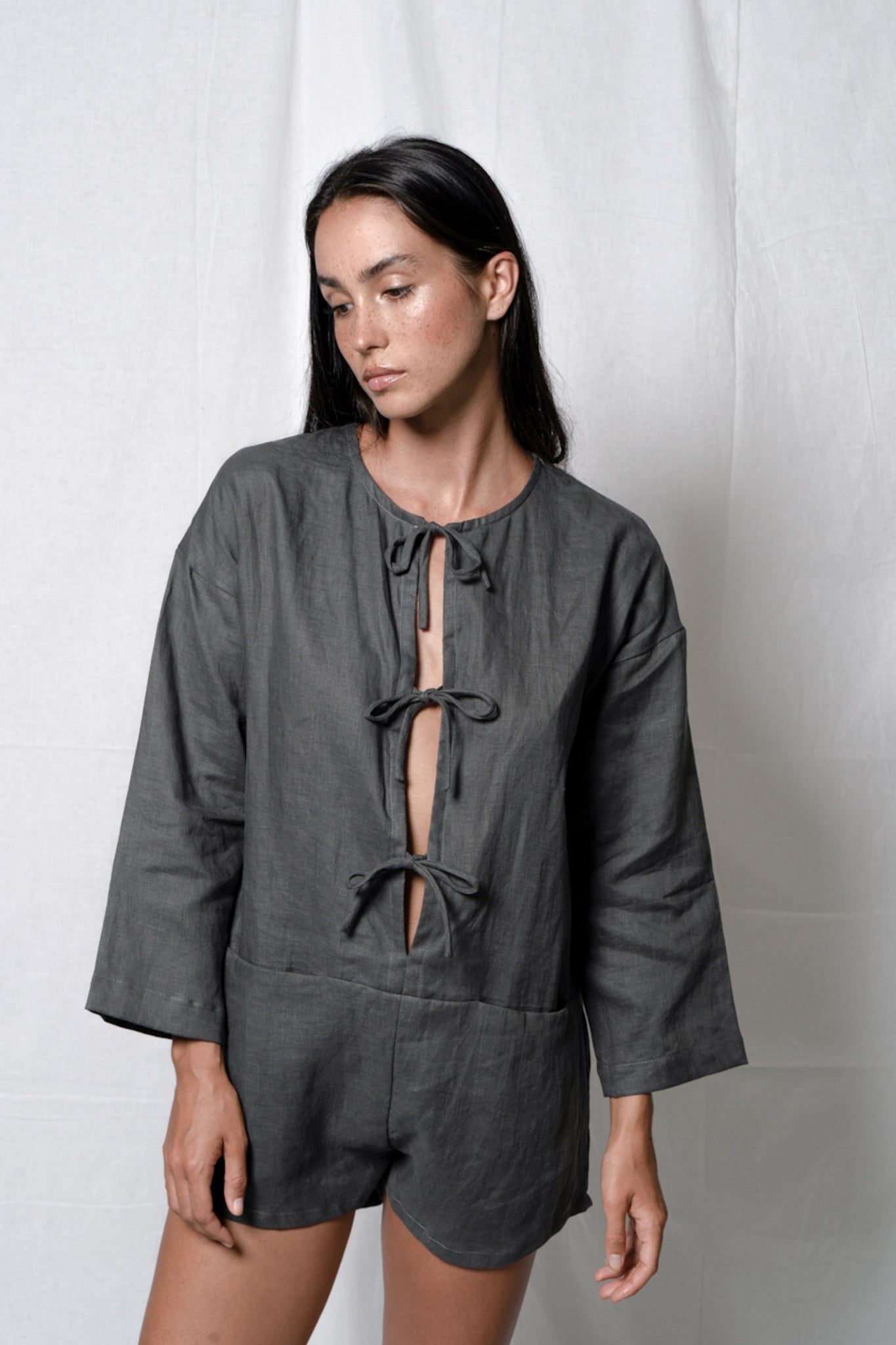 Arthur Apparel fashion romper in grey linen