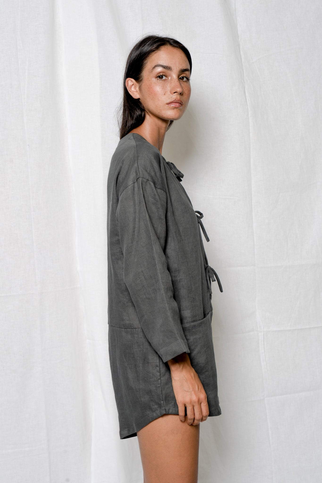 Arthur Apparel grey linen playsuit