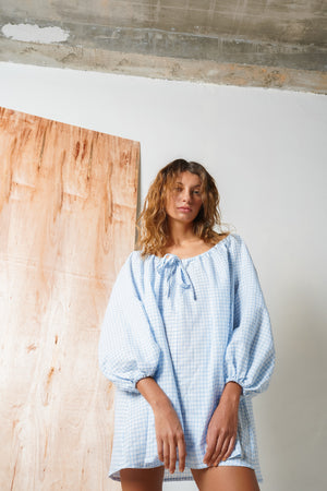 Arthur Apparel SS19 Womenswear Australian Fashion Mini Dress Blue Gingham