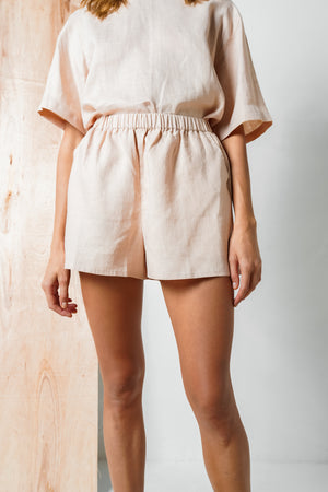 Women's Summer Fashion Elasticated Mini Shorts in Pink Linen Arthur Apparel