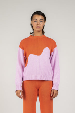 Oversized Pullover in Spliced Pink / Melon