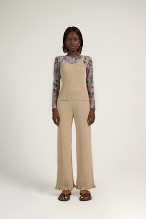 Knitted Frill Pant in Beige