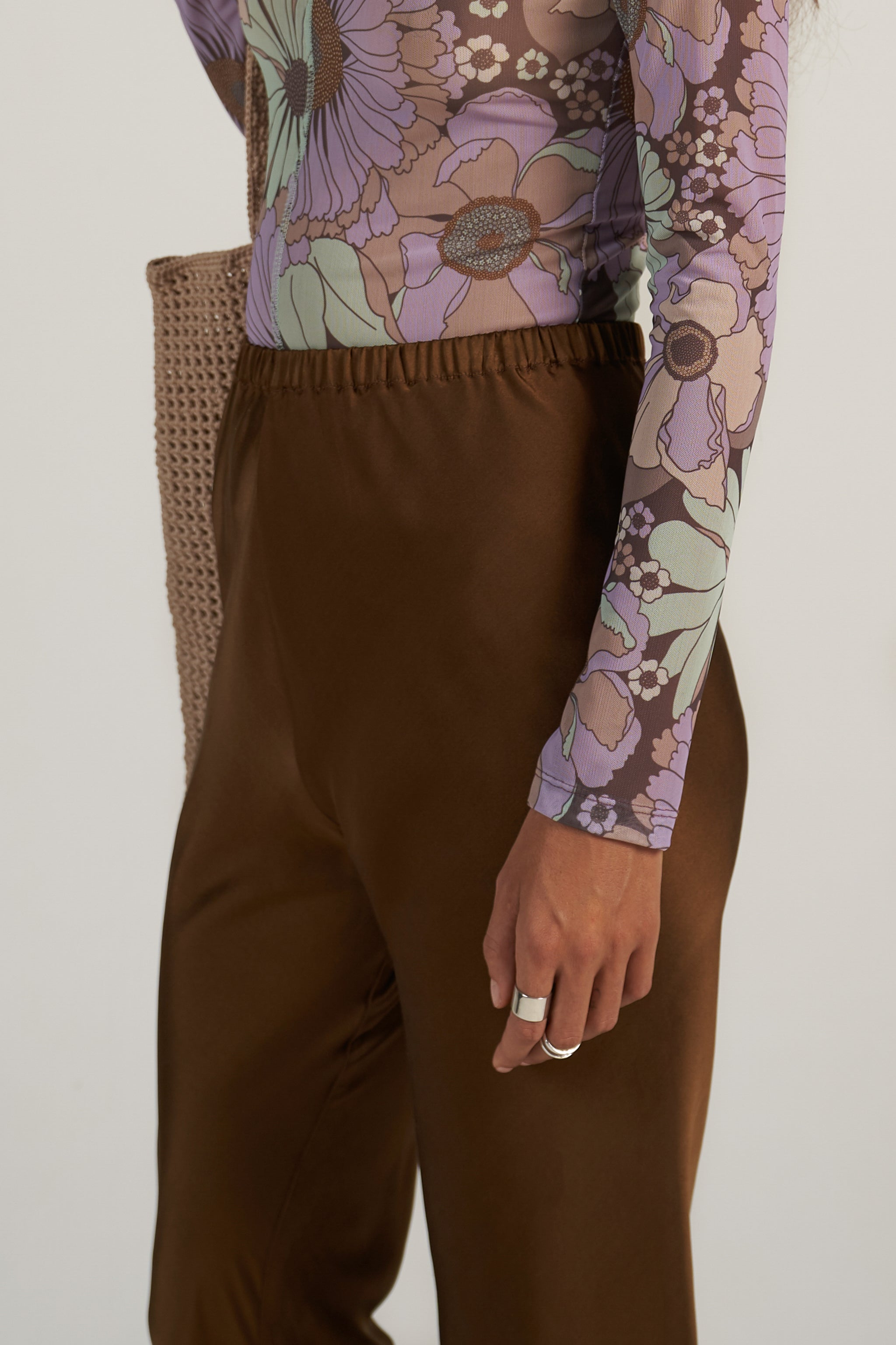 Bias Silk Pant in Choccy