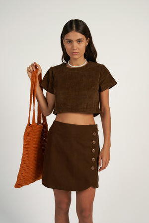 WELL-ROUNDED SKIRT in Choccy