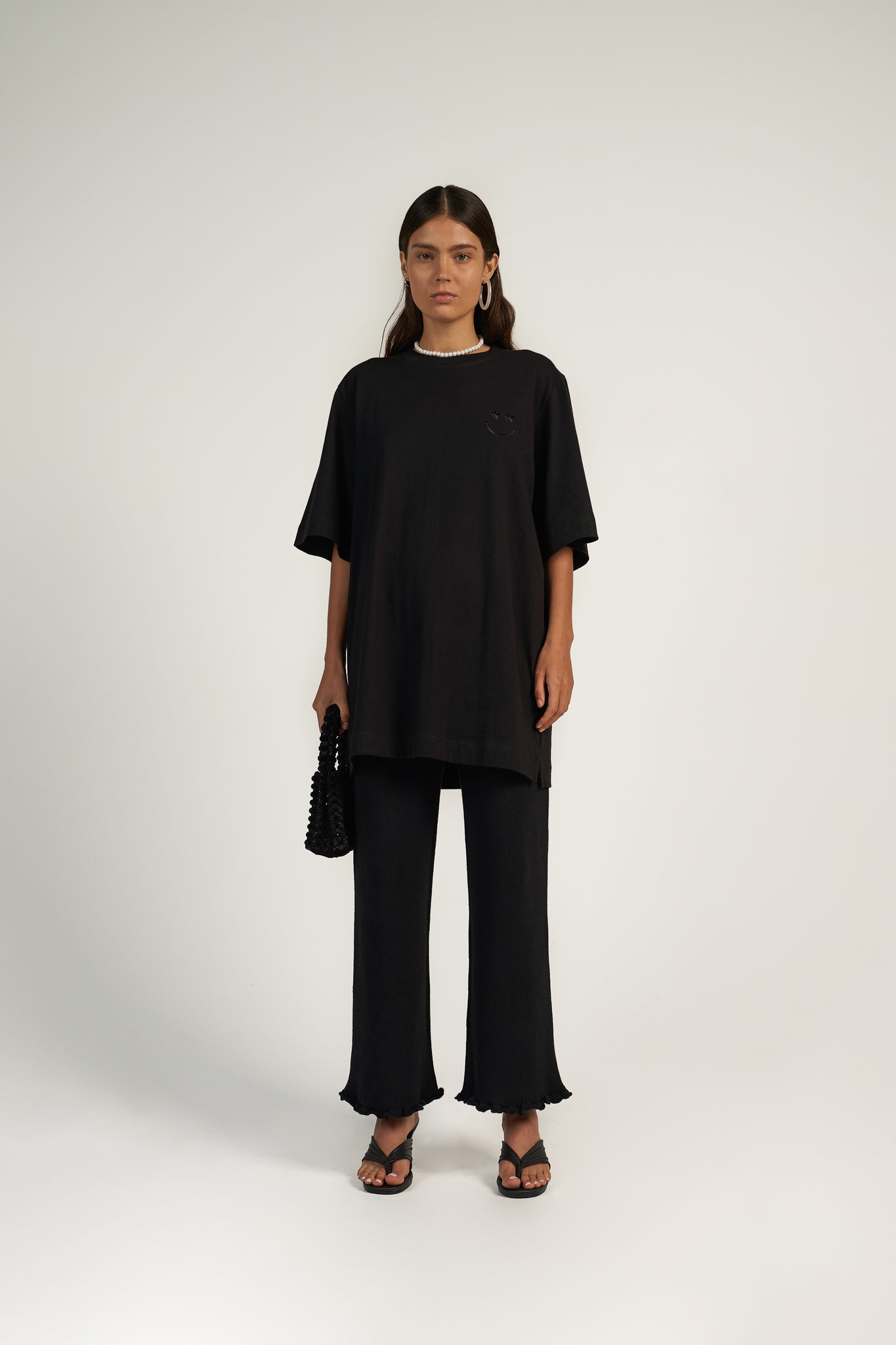 Knitted Frill Pant in Black