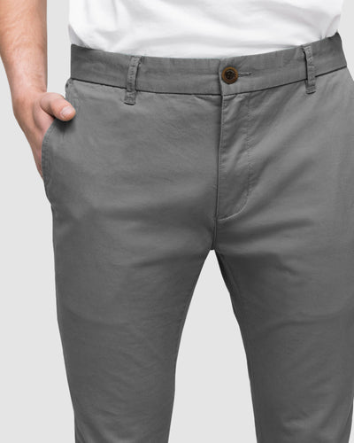 Wayver Men's Slim Fit Chino Pants in Grey Best Seller on The Iconic
