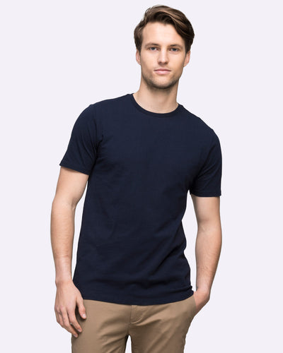 Mens navy t-shirt crew neck wayver the iconic