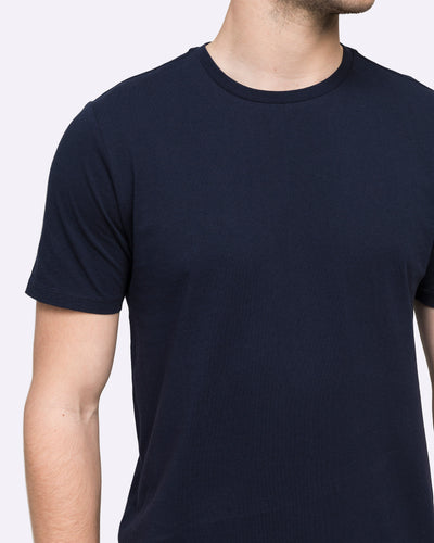 wayver crew neck navy tee shirt cotton mens