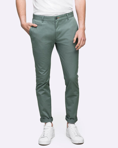 Wayver men's slim chino pants faded green khaki
