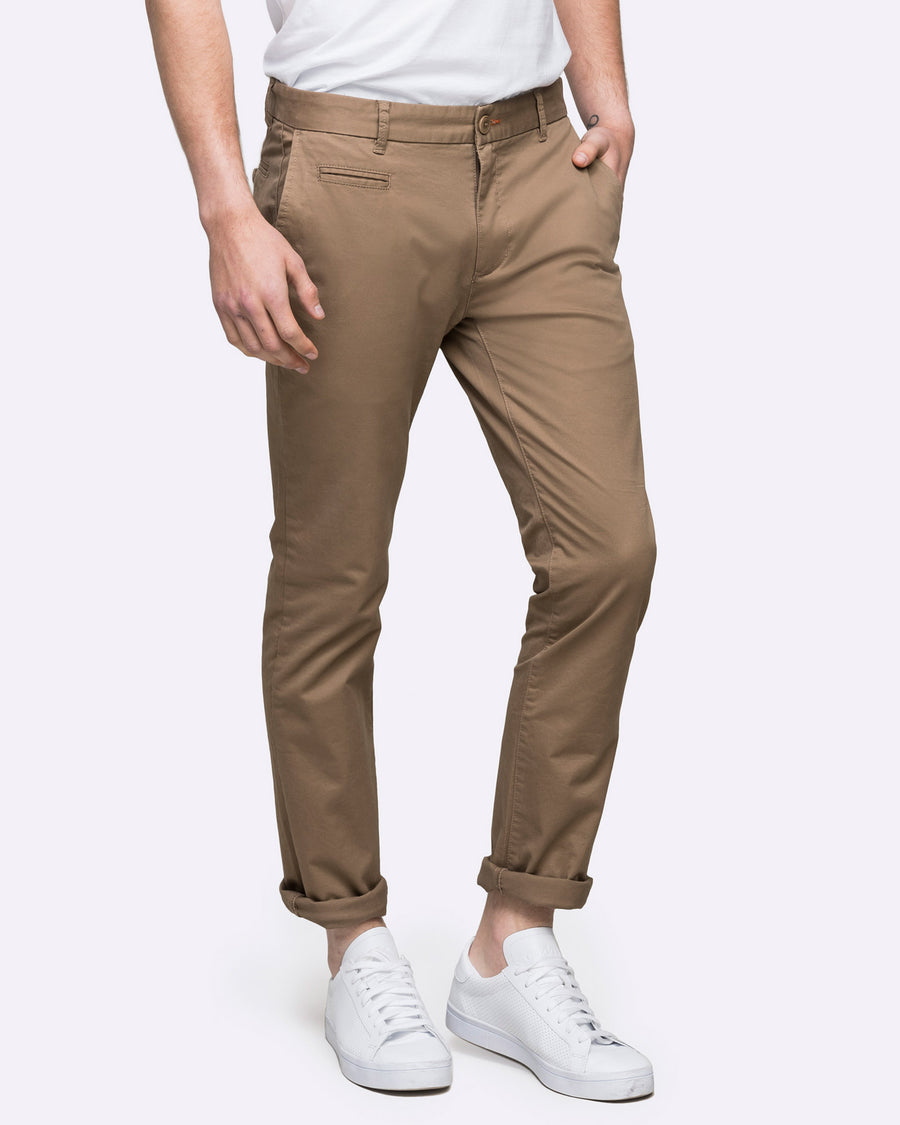 Tan Slim fit stretch chino by Wayver