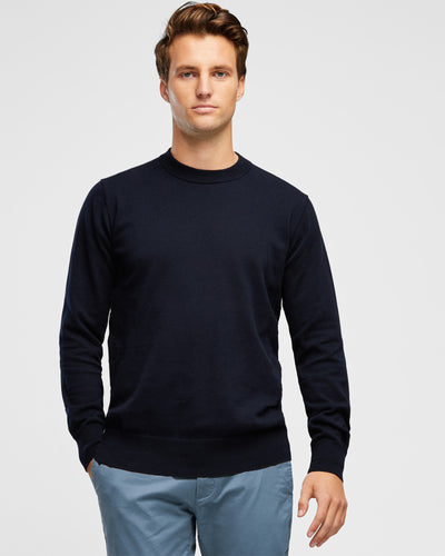 Men's Luxury Cotton Navy Crew Neck Knit - Wayver Originals