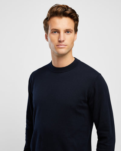 Men's Cotton Navy Crew Neck Knit - Wayver Originals
