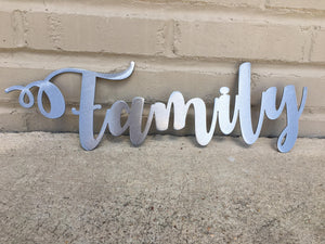 Custom Metal Script Words-Home Goods-Diamond in the rough-Gift, HomeGoods, Metal-Polished-Family-The Twisted Chandelier