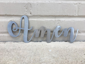 Custom Metal Script Words-Home Goods-Diamond in the rough-Gift, HomeGoods, Metal-Polished-Amen-The Twisted Chandelier