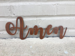 Custom Metal Script Words-Home Goods-Diamond in the rough-Gift, HomeGoods, Metal-Rusted-Amen-The Twisted Chandelier