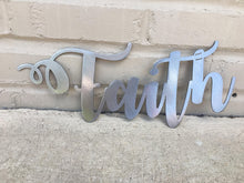 Load image into Gallery viewer, Custom Metal Script Words-Home Goods-Diamond in the rough-Gift, HomeGoods, Metal-Polished-Faith-The Twisted Chandelier