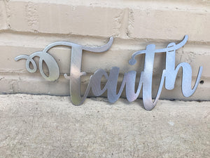 Custom Metal Script Words-Home Goods-Diamond in the rough-Gift, HomeGoods, Metal-Polished-Faith-The Twisted Chandelier