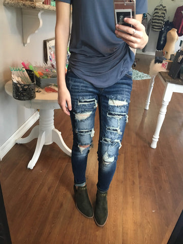 Dark Distressed Skinnies