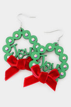 Load image into Gallery viewer, Christmas Wreath Earrings-Wona Trading-NOV2020, November 2020, November2020-Red Ribbon-The Twisted Chandelier