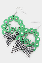 Load image into Gallery viewer, Christmas Wreath Earrings-Wona Trading-NOV2020, November 2020, November2020-Black Plaid Ribbon-The Twisted Chandelier