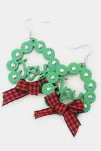 Load image into Gallery viewer, Christmas Wreath Earrings-Wona Trading-NOV2020, November 2020, November2020-Red Plaid Ribbon-The Twisted Chandelier