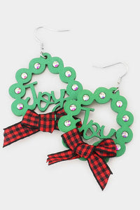 Christmas Wreath Earrings-Wona Trading-NOV2020, November 2020, November2020-Red Plaid Ribbon-The Twisted Chandelier