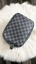 Load image into Gallery viewer, Queen B Checkered Makeup Bags-Babe Wholesale Co.-Accessories, Checker, Checkered, DOORBUSTER, Louis, LV, MakeUp, Makeup Bag, NOV2020, November 2020, November2020, Vuitton-Black-The Twisted Chandelier