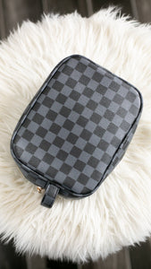 Queen B Checkered Makeup Bags-Babe Wholesale Co.-Accessories, Checker, Checkered, DOORBUSTER, Louis, LV, MakeUp, Makeup Bag, NOV2020, November 2020, November2020, Vuitton-Black-The Twisted Chandelier