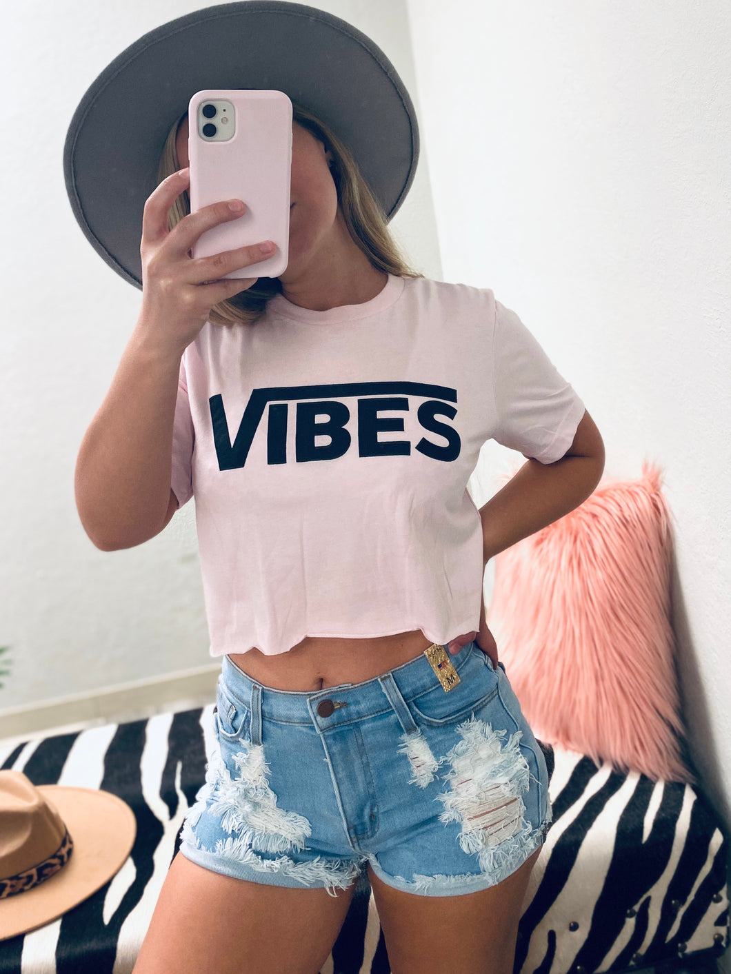 Vibes Crop Tee - Pink-The Twisted Chandelier-babe tee, cheetah tee, crop tee-The Twisted Chandelier