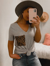 Load image into Gallery viewer, Cheetah BF Pocket Tee - (GREY)-The Twisted Chandelier--The Twisted Chandelier