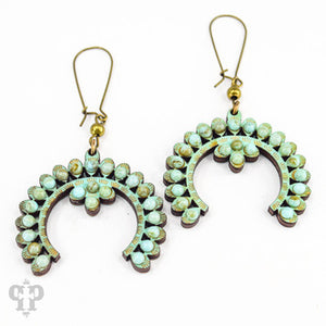 Turquoise Wood Wishbone Earring- e464tt-The Twisted Chandelier--The Twisted Chandelier
