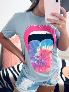 Tie dye Lips Graphic Tee - Light Blue-The Twisted Chandelier-babe tee, cheetah tee, crop tee-The Twisted Chandelier