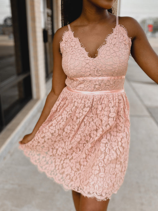 Let's Do Brunch - Babydoll Dress-The Twisted Chandelier-babydoll, blush, brunch, lace, summer dress-The Twisted Chandelier