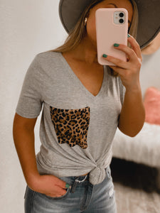 PLUS SIZE Cheetah BF Pocket Tee - (LIGHT GREY)-The Twisted Chandelier--The Twisted Chandelier