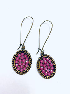Pink Oval Hanging Earrings- e409bcp-The Twisted Chandelier--The Twisted Chandelier