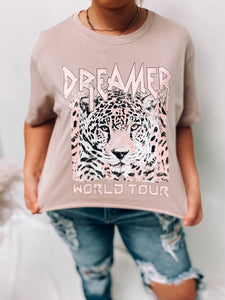 DREAMER TIGER CROP ROSE TEE-Rocker Tee-Zutter-January 2021, rocker tee-The Twisted Chandelier